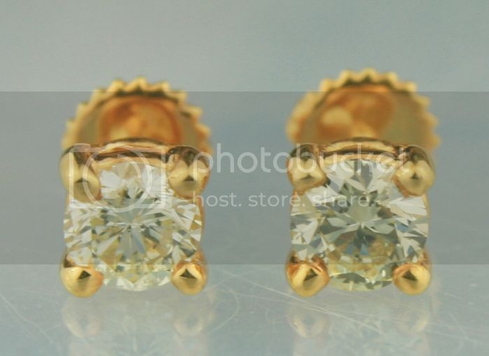 Diamond Solitaire Earrings 1.66Ct 0.83Ct X 2 Pcs Gold Wedding