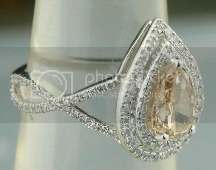 Colored Diamond Rings 1.96 Ct Center 1.40Ct Eye Clean Fancy Color Pear Cut Solid Gold Natural Certified