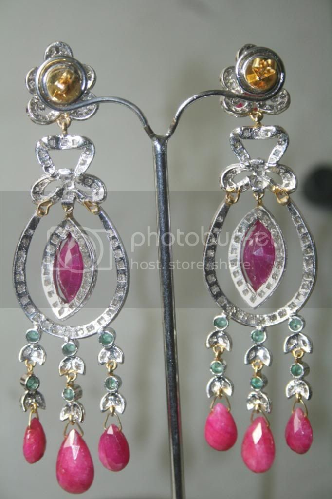 Vintage Diamond Earrings 2.60 Carat Natural Certified Diamond & Ruby Emerald Gold Party