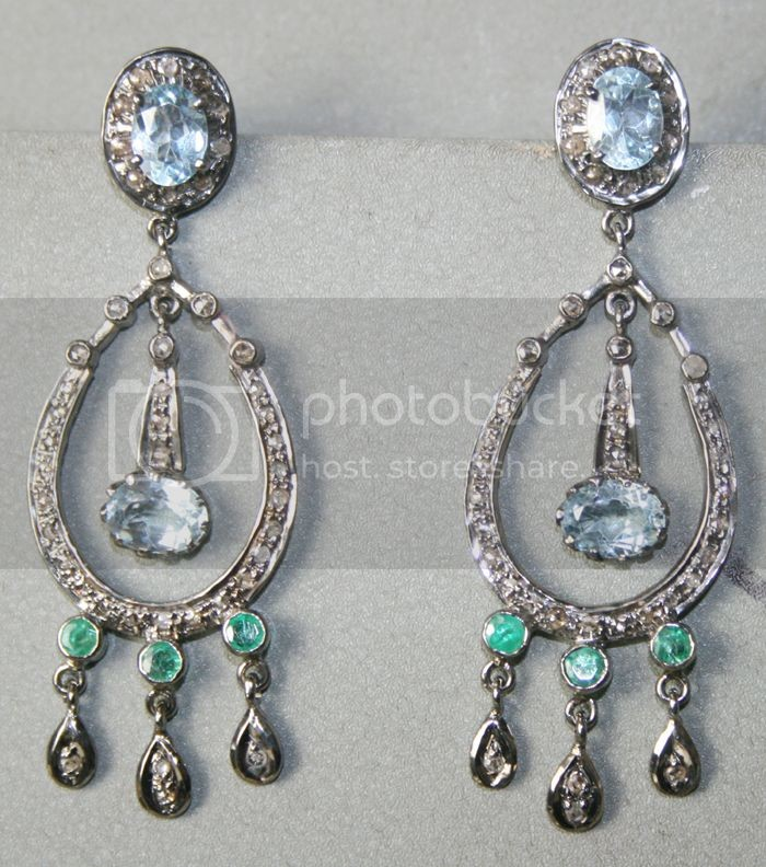 7.83 Carat Natural Diamond Gemstone Sterling Silver Earrings