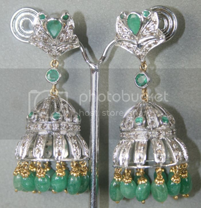 Rose Cut Earrings 2.00 Carat Natural Certified Diamond Emerald 14K Gold Engagement