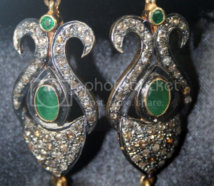 Uncut Earrings 1.67 Carat Natural Certified Diamond Ruby Emerald Wedding