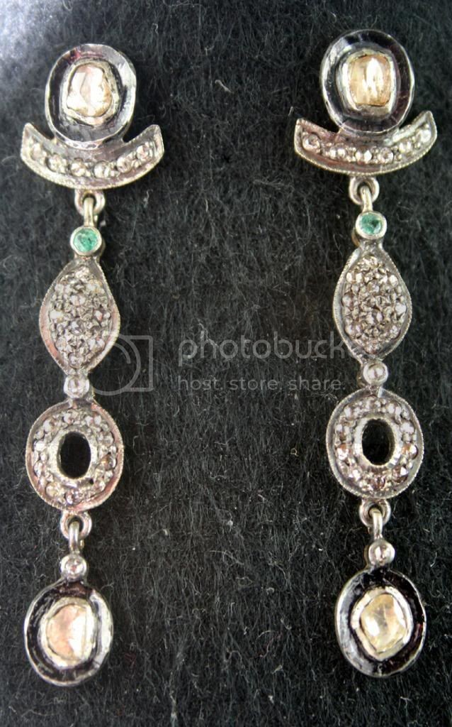 Victorian Earrings 1.06 Ct Natural Certified Diamond Emerald Weekend