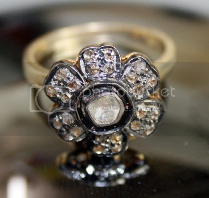 Vintage Art Deco Engagement Rings 0.51 Carat Uncut Natural Certified Diamond 925 Sterling Silver Anniversary