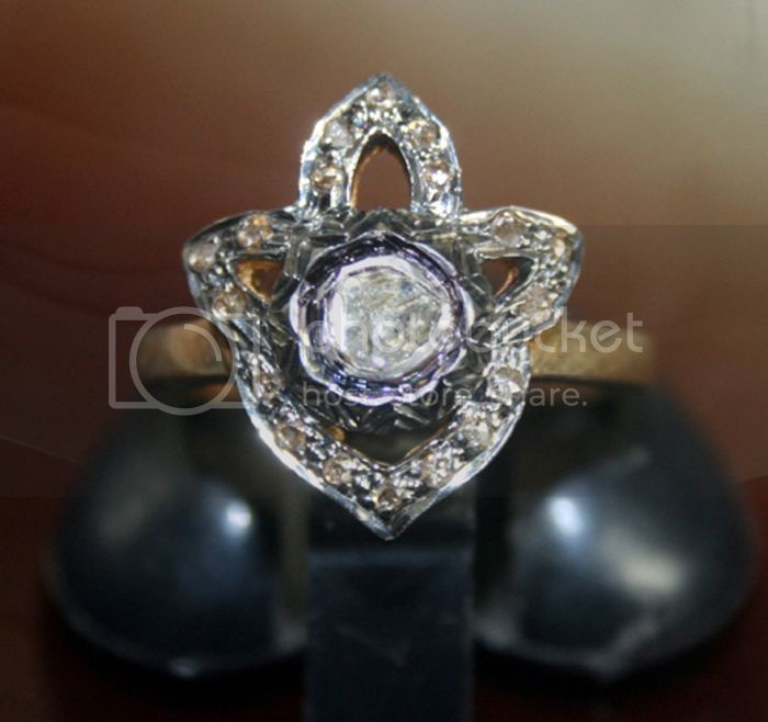 Victorian Diamond Ring Natural Uncut Natural Certified Diamond 925 Sterling Silver Wedding