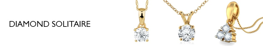 diamond solitaire necklace yellow gold