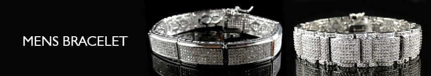 mens white gold diamond bracelet