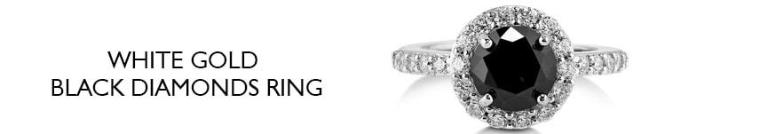 white gold black diamonds ring