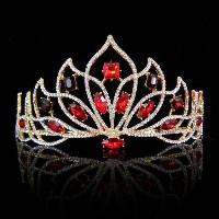 13 30ct Natural Diamond Ruby14k Yellow Gold Wedding Anniversary Tiara Crown