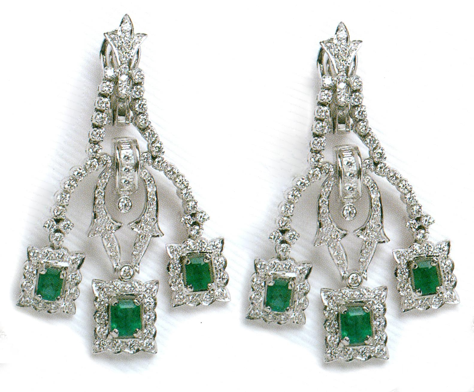 Diamond Necklace Set 15 55Ct Emerald White Gold Bridal Set